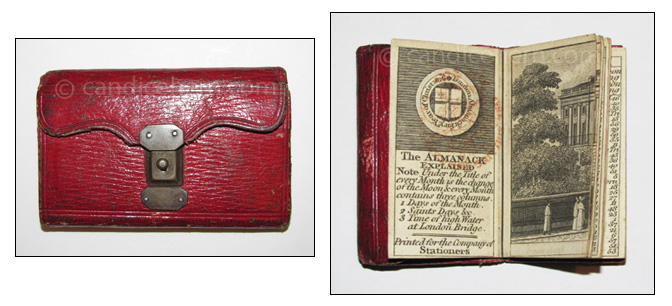 "London Almanack 1826 - 1 1/8"" x 2 1/4"" - Red leather wallet-style with steel latching mechanism, green leather interior, and an inside pocket. Includes a four-page engraving of ""View of Richmond Terrace, Whitehall.""London Almanack 1826 - 1 1/8"" x 2 1/4"" - Red leather wallet-style with steel latching mechanism, green leather interior, and an inside pocket. Includes a four-page engraving of ""View of Richmond Terrace, Whitehall."""