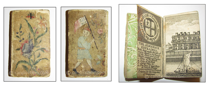 "London Almanack 1756 - 1 1/8"" x 2 1/4"" - Hand-painted silk covers, the front showing flowers and an insect, the reverse showing a Chinese figure carrying a flag. Hand-painted end papers. Includes a four-page engraving of ""Greenwich Hospital."" London Almanack 1756 - 1 1/8"" x 2 1/4"" - Hand-painted silk covers, the front showing flowers and an insect, the reverse showing a Chinese figure carrying a flag. Hand-painted end papers. Includes a four-page engraving of ""Greenwich Hospital."""