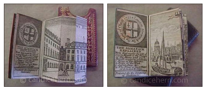 "Figure 5: London Almanacks.Left:1771. Tooled red leather slipcase with gilt decoration. Includes a fold-out engraving of St. Bartholomew's Hospital. 1 1/8"" x 2 1/4""Right: 1752. Shagreen slipcase lined in marbleized paper. Almanack cover in blue moiré silk. Hand-painted end-papers. Includes a four-page engraving of ""The Archbishop of Canterbury's Palace at Lambeth."" 1 1/8"" x 2 1/4"""