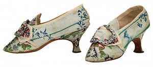 Figure 1: Lady's silk brocade shoes with paste buckles. c1760 (Bata Shoe Museum)