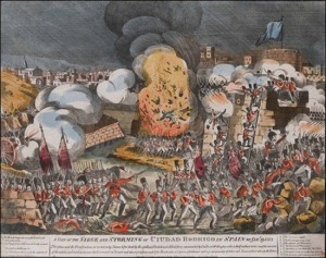 A View of the Siege and Storming of Ciudad Rodrigo in Spain on Jany. 19, 1812 - contemporary print by an unknown artist.