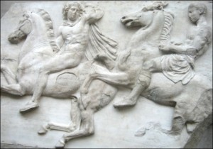 """Horseman from the west frieze of the Parthenon, part of the """"Elgin Marbles."""""""
