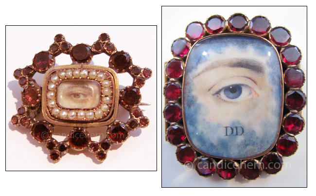 "Left: A gentleman's brown eye painted in miniature on ivory, set in gold with garnets and seed pearls. Garnets often symbolize love and pearls can symbolize purity, so this is more likely a love token rather than a mourning piece. Early 19th century. 1″ x 1¼"" Right: A gentleman's blue eye painted on ivory, set in gold with garnets. Clouds surrounding the eye sometimes represent a deceased person gazing out from heaven. Uncertain if initials DD belong to the artist or the sitter. Early 19th century. 1¾"" x 1½"""