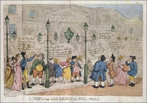 """""""A Peep at the Gaslights in Pall Mall"""" engraved by Thomas Rowlandson after a drawing by George Woodward."""