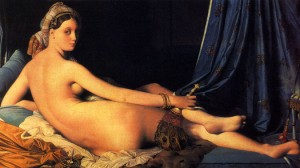 La Grande Odalisque by Ingres, 1814.  His contemporaries considered the work to signify Ingres' break from Neoclassicism, indicating a shift toward exotic Romanticism.