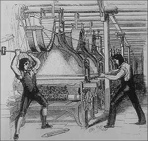 Frame-breakers, or Luddites Smashing a Loom. Print by unknown artist, 1812.