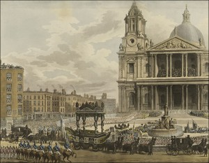 Funeral procession of Admiral Lord Nelson, from the Admiralty to St. Paul's, London, January 9, 1806. Print by Augustus Charles Pugin.