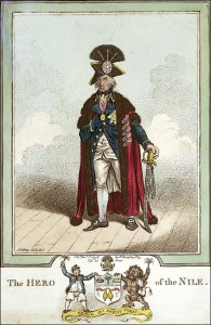Nelson as Hero of the Nile in a caricature by Gilray.