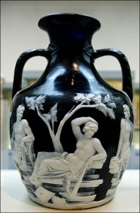 The Portland Vase.  The first century BC Roman cameo glass vase served as an inspiration to many glass and porcelain makers, especially Josiah Wedgwood, since it was first brought to England by Sir William Hamilton in 1784.