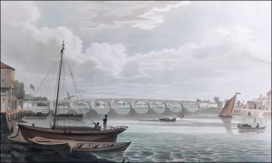 Vauxhall Bridge shortly after it opened in 1816. Artist unknown.
