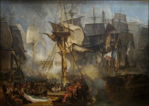 The Battle of Trafalgar, as Seen from the Mizen Starboard Shrouds of the Victory by J.M.W. Turner.