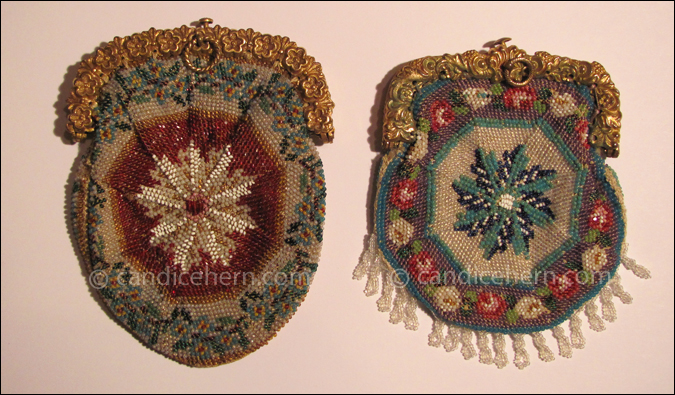 "Figure 3 Two examples of a common sunburst or pinwheel design used for round or pie-crust shaped purses. Finely knitted beadwork. Beaded fringe on one. Pinchbeck frames. Each approximately 3"" x 2""."