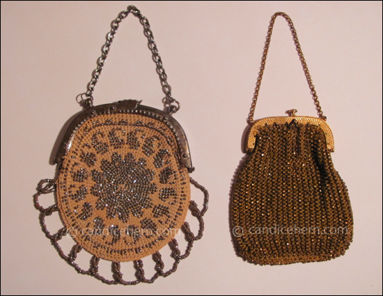 "Figure 4 Left: Crocheted and beaded purse. Cut steel beadwork on wool. Beaded loop fringe. Steel frame and chain handle. 3"" x 2"", excluding fringe and handle. Right: Tiny knitted purse of dark gold silk woven throughout with gold-colored beads (possibly brass), attached to a gilt frame with a gold chain handle. 3"" long, not including handle."