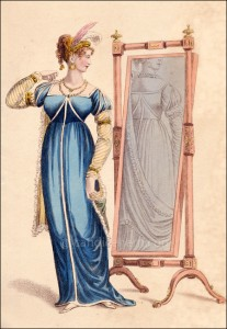 Evening Dress, La Belle Assemble, April 1809