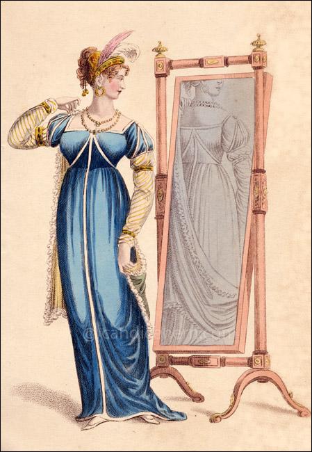 Evening Dress, La Belle Assemble, April 1809
