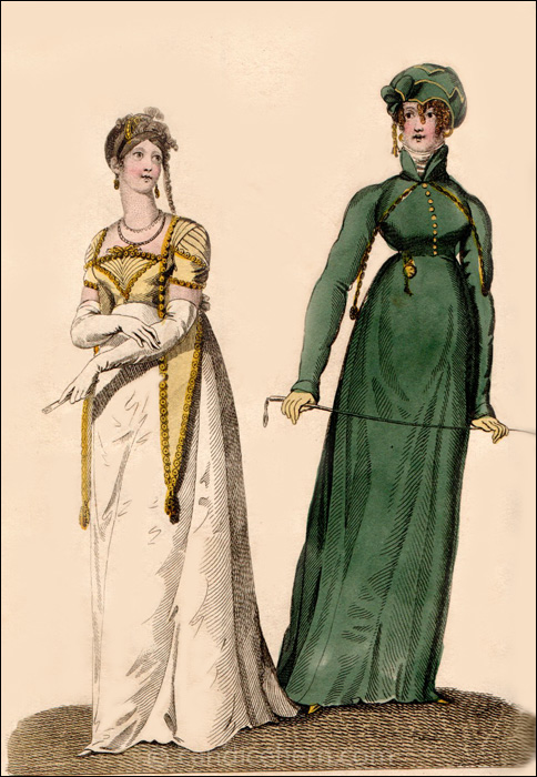 Evening Dress and  Riding Dress, September 1808