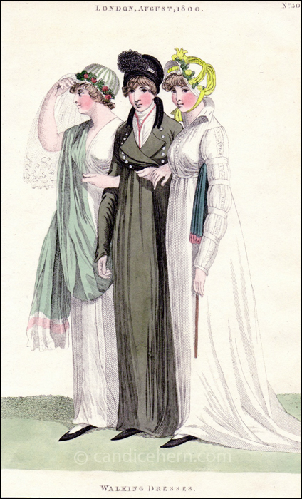 Walking and Riding Dresses, August 1800