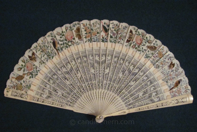 Ivory Fan with Bird Decoration