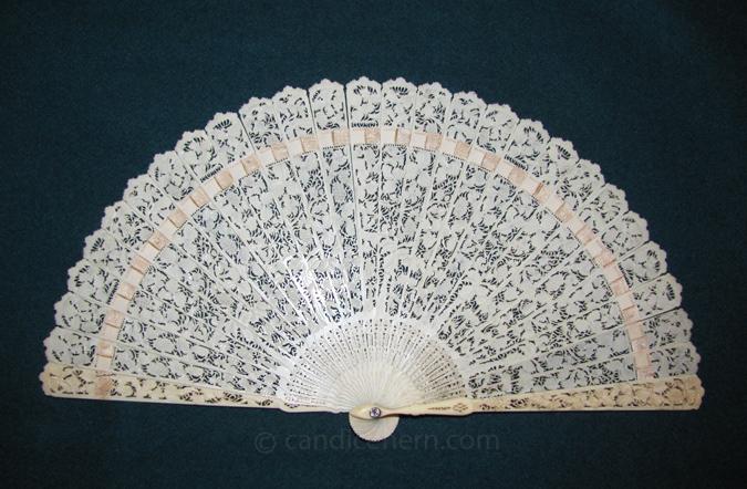 Ivory Brisé Fan with Lace Design