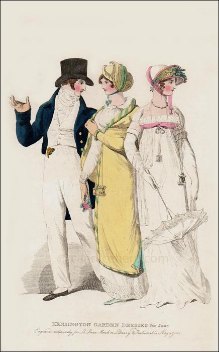 Kensington Garden Dresses, June 1808