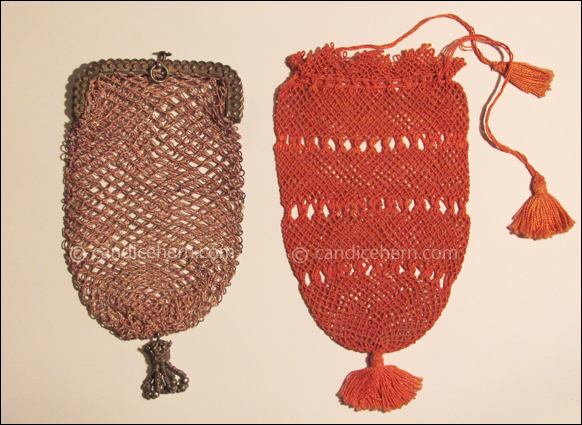 """Figure 2 Left: Netted purse of pink silk and silver metallic thread attached to a sterling frame. Tassel at bottom of purse is composed of loops of steel beads beneath a tiny sterling crown that matches the frame. 3 ¾"""" long, not including tassel. The frame is hallmarked for 1816. Right: Netted drawstring purse of red silk. The silk is gathered and tied into tassels at the ends of the drawstrings and at the bottom of the purse. 4"""" long, from drawstring to tassel knot. c1800."""